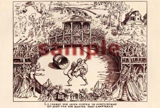 Combat between Man and Dog, A 1892 print