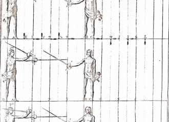The first rule in the exercises of the arm and sword in the formation of the cuts: reves, medio tajo, and media reves, on the straight step.