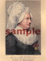 Chevalier D'Eon de Beaumont Portrait by R. Cosway, R.A., and engraved by Thomas Chambers