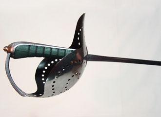 "Italian Dueling Sabre, ""Pecoraro model"", close-up of hilt."