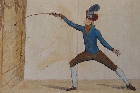 Position de l'allongement du coup de quarte. Position of the lunge in carte.