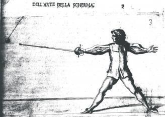 Fig. 6. Morsicato Pallavicini's treatise of 1670, La Scherma Illustrata, depicting a cup-hilt practice Rapier/spada da marra/fioretto.