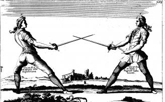 Fig. 7. Giuseppe D'Alessandro's treatise of 1723, Opera, depicting cup-hilt rapiers.