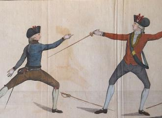 Le croisé d'epeé après la parade du contre de quarte, qui forme le désarmement. The crossing of the sword after the counter in carte parade which forms the disarm.