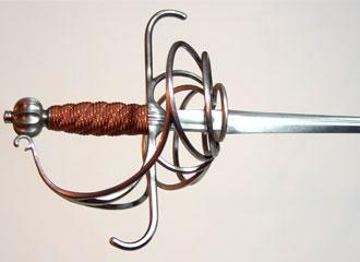 Italian Rapier replica, close-up hilt.